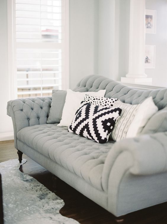 a vintage affair home tour grey gray couches and style. Black Bedroom Furniture Sets. Home Design Ideas