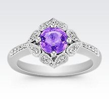 Vintage Lavender Sapphire and Diamond Ring Image