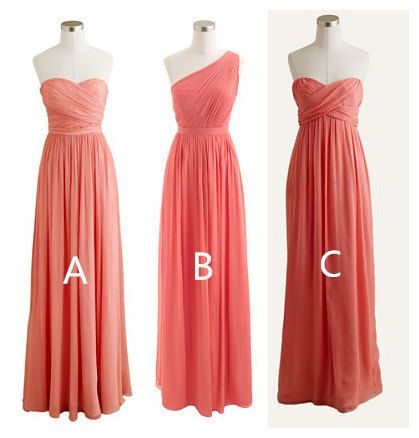 Images of Coral Chiffon Bridesmaid Dresses - Weddings Pro
