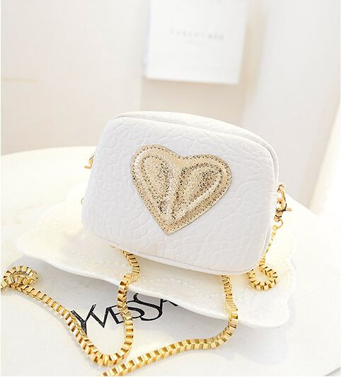 Sweet Lovely Rivet Peach Heart Hit Color Inclined Shoulder Bag White
