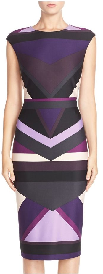 graphic colorblock sheath dress