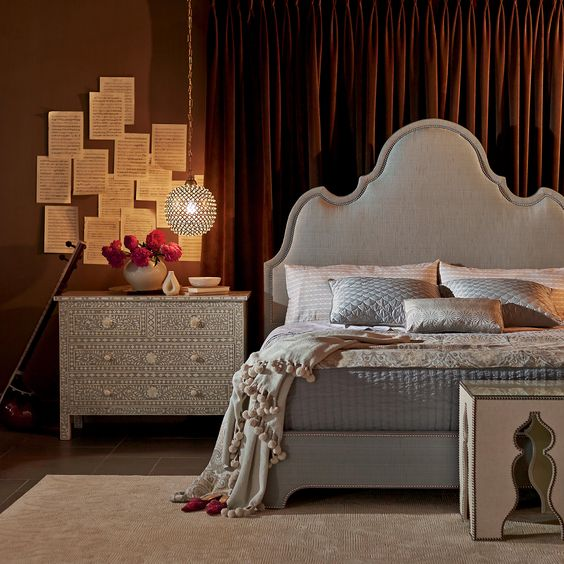 Sophisticated & feminine bedroom - so  elegant. Perfect for the well-traveled decorating diva.    Bernhardt Interiors. Palatino Upholstered Platform Bed, Hatha Drawer Cabinet [Creative direction: Ron Fiore]