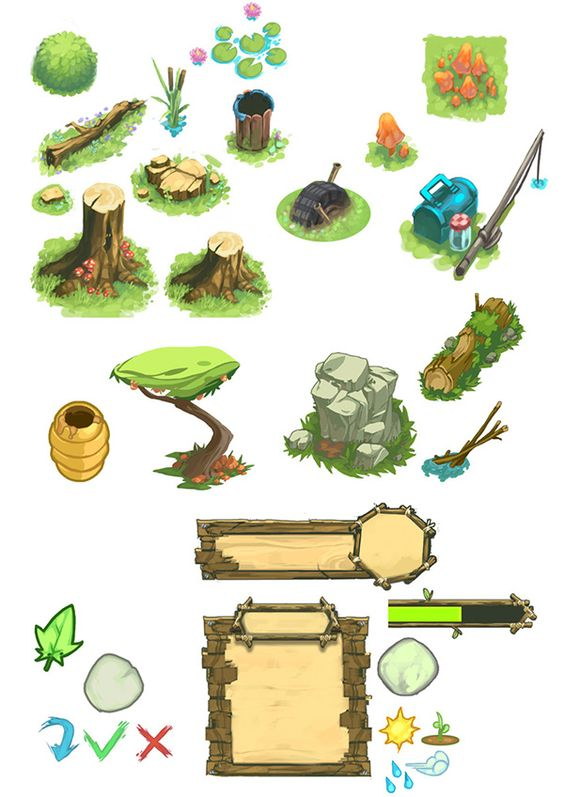 concept and props for various mobile videos games