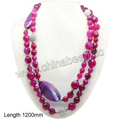 Fashion gemstone necklace, 12mm, 14mm, 16mm faceted round magenta rose agate beads, 5mm round metal beads, 14mm round rhinestone zinc alloy ...