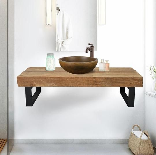 47 Auter Recycled Teak Wood Wall Mount Vanity For Vessel Sink Rustic Finish Wall Mounted Vanity Bathroom Decor Vessel Sink