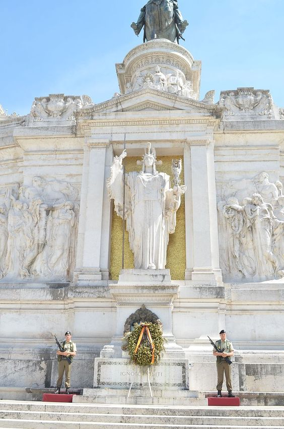 The Altar of the Fatherland, symbolic centre of the Vittoriano, with the Tomb of the Unknown Soldier. Above the statue of goddess Roma is the equestrian statue of Victor Emmanuel II of Savoy, the first king of a unified Italy