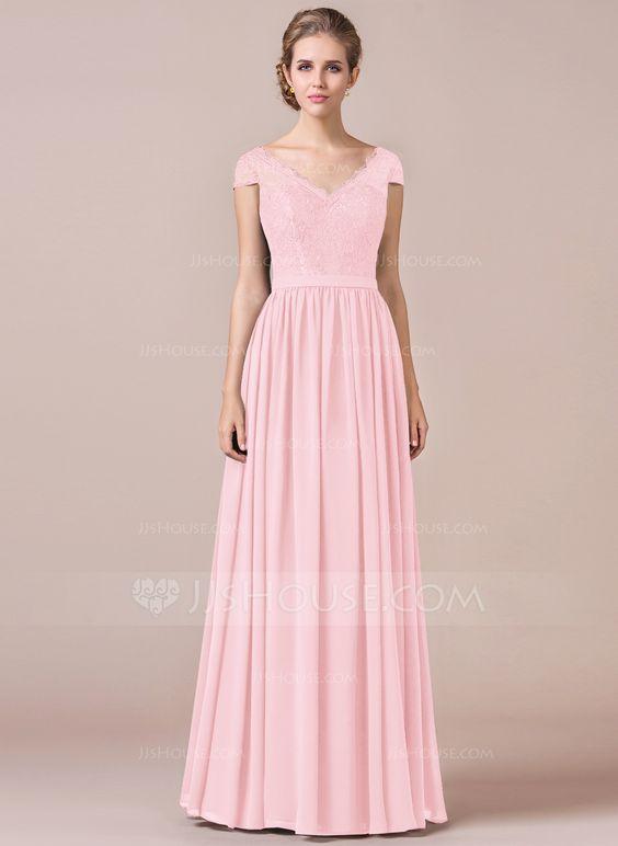 A-Line/Princess V-neck Floor-Length Zipper Up Cap Straps Short Sleeves No Black Spring Summer Fall General Plus Chiffon Lace Bridesmaid Dress
