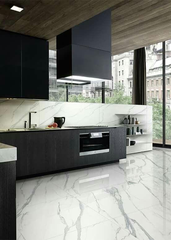Pin By Zilda On Cozinhas Com Estilo Modern Marble Kitchen Marble Floor Kitchen Marble Tile Kitchen
