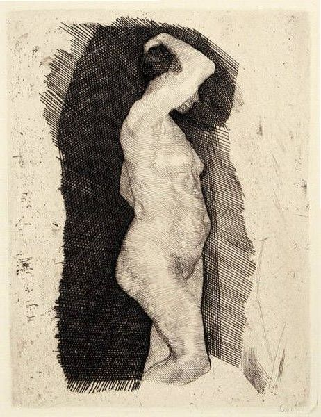 Female nude / A rare Kathe Kollwitz academic study: