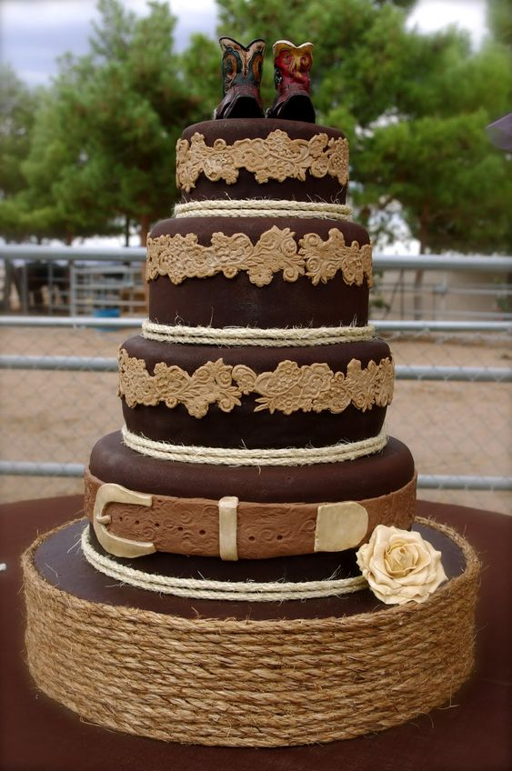 Western Wedding Cake with twine and boot toppers