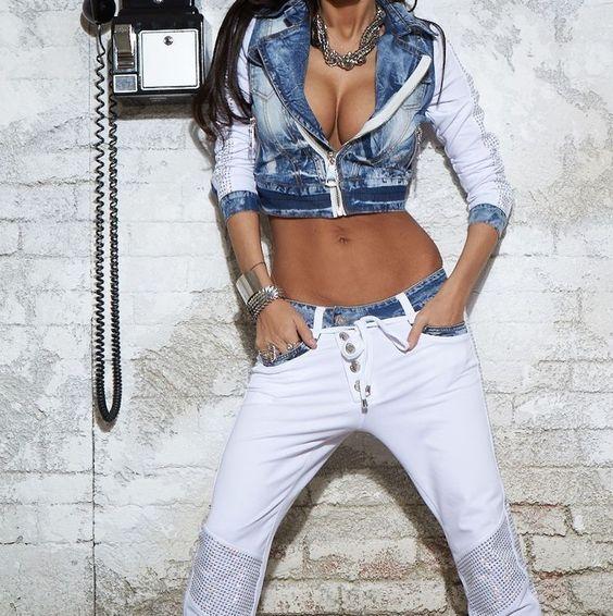 BY ALINA 2-Teiler Freizeitanzug Damen Hose Jacke Jeans Boyfriend Aladin 34 #A172