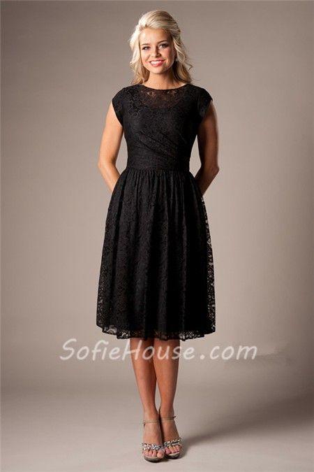 Modest A Line Cap Sleeved Black Lace Short Party Bridesmaid Dress ...