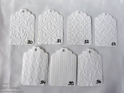 Embossing Folders---number your embossing folders and make matching (numbered) swatch samples. More photos on blog.