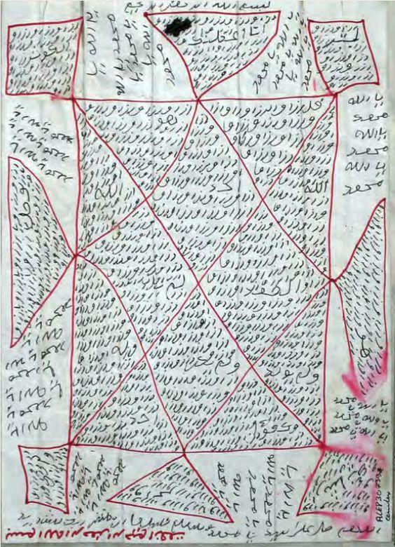 ALEP30739 ceinture (26,7 x 20,7cm) page 159 via Un art secret, les écritures talismaniques de l'Afrique de l'Ouest,
