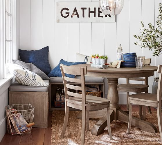 Owen Extending Pedestal Dining Table Weathered Gray Potterybarn Eclectic Dining Room Pedestal Dining Table Extendable Dining Table