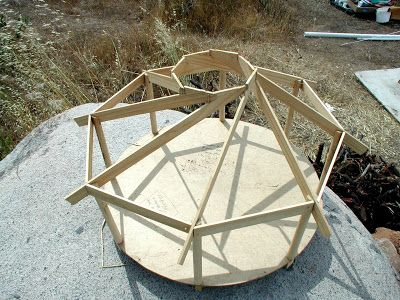 ...I carefuly crafted this scaled model to give me the sense, angles and proportion of a reciprocal roof...: