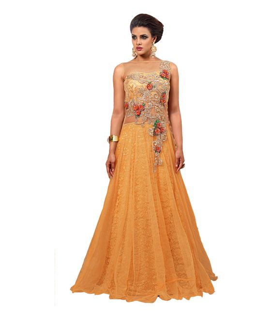Aramani Fashion Beige Net Gowns