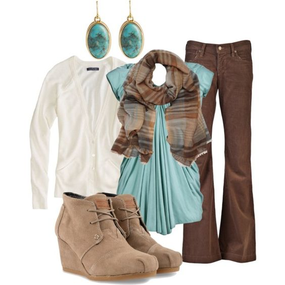 Brown pants teal shirt cream cardigan outfit my style for What color shirt goes with brown pants