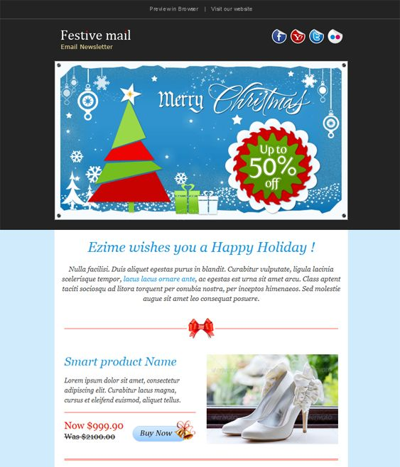 Happy New Year Christmas Holiday Email Template FOOTBALL CHEER - Mailchimp holiday templates