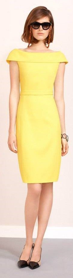 Paule Ka 2015 yellow neutral dress.  women fashion outfit clothing stylish apparel @roressclothes closet ideas: