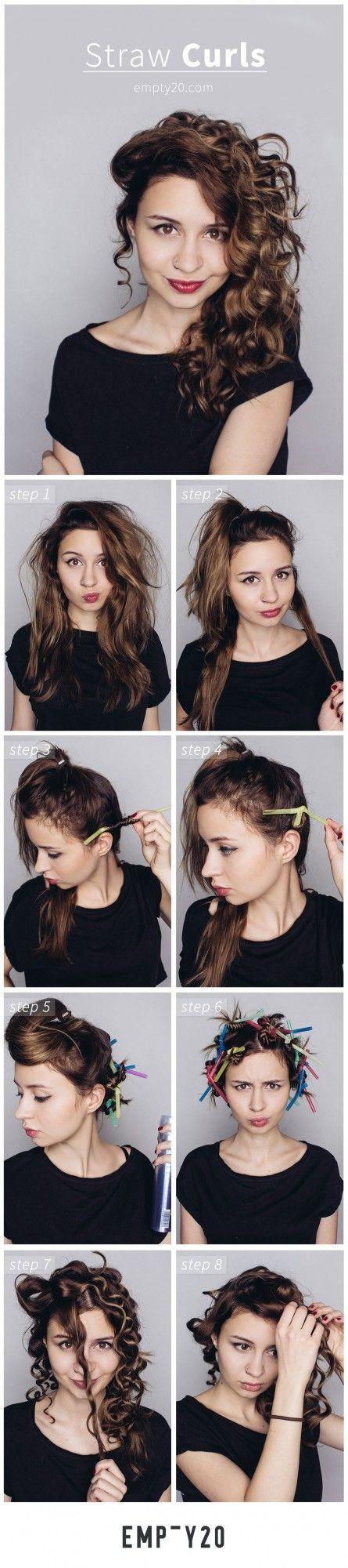 TUTORIAL for Heatless curls using straws