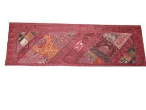 Decorative Vintage Sari Tapestry Dark Red Sequin Beaded Wall Hanging Throw 80 X 25 Inches: Home & Kitchen $89.00