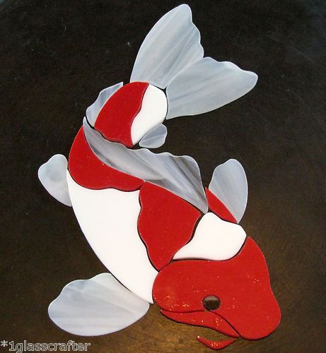 Koi fish stained glass pre cut mosaic tile inlay kit many for Koi fish for sell