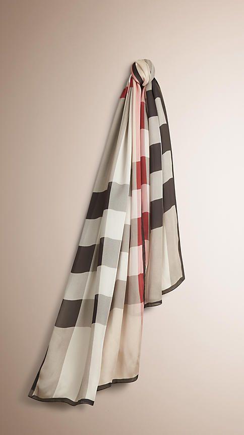 Pietra Sciarpa leggera in seta con motivo check Pietra - Immagine 1