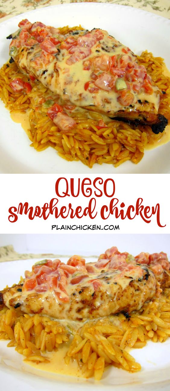 Mex grilled chicken smothered in Queso and served over southwest seasoned orzo QUESO SMOTHERED CHICKEN
