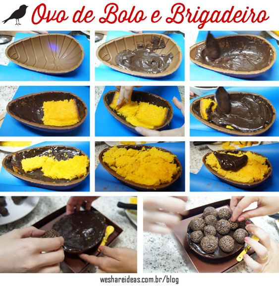 receita de ovo de páscoa recheado de bolo de cenoura e brigadeiro. Mais no blog!: