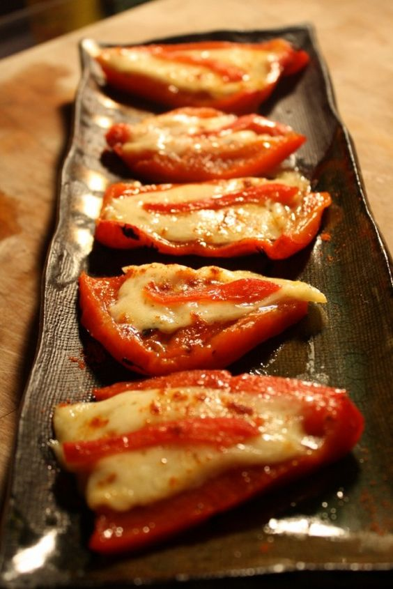 Roasted peppers and manchego cheese