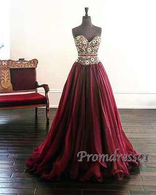 Beaded burgundy chiffon long sweetheart dress for prom 2016, prom dresses for teens #coniefox