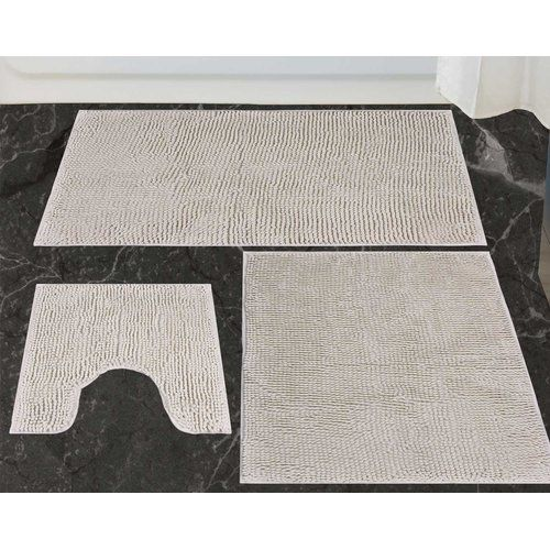 Richelle 3 Piece Bath Mat Set Belfry Bathroom Colour Grey Bath