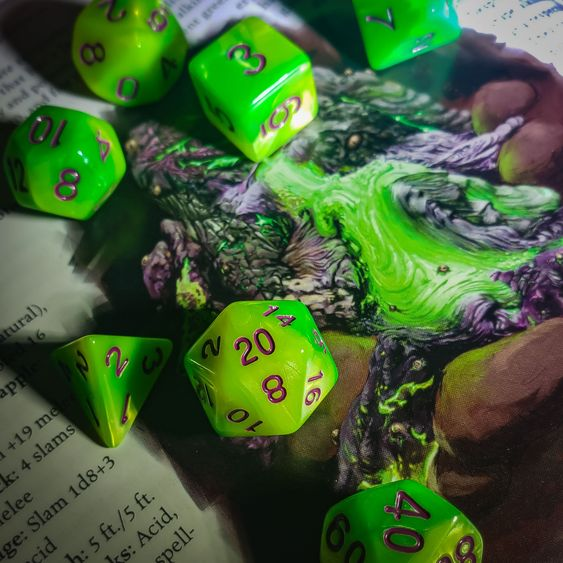 Neon green dice set