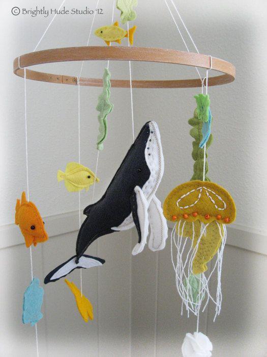Humpback Whale Modern Felt Mobile. $100.00, via Etsy.