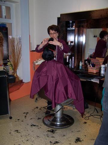 purple shiny nylon cape hairsalon pics pinterest