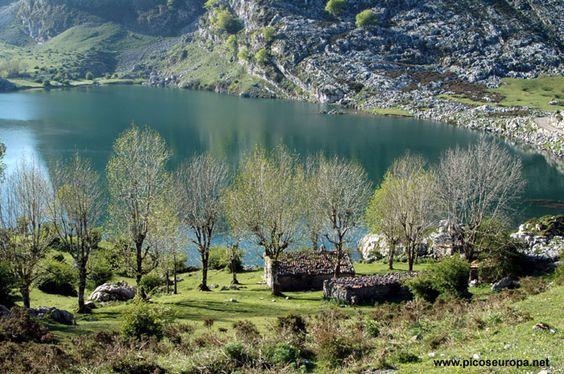 Lago Enol, Lagos de Covadonga, Macizo Occidental de Picos de Europa (Cornión), Asturias, España.: