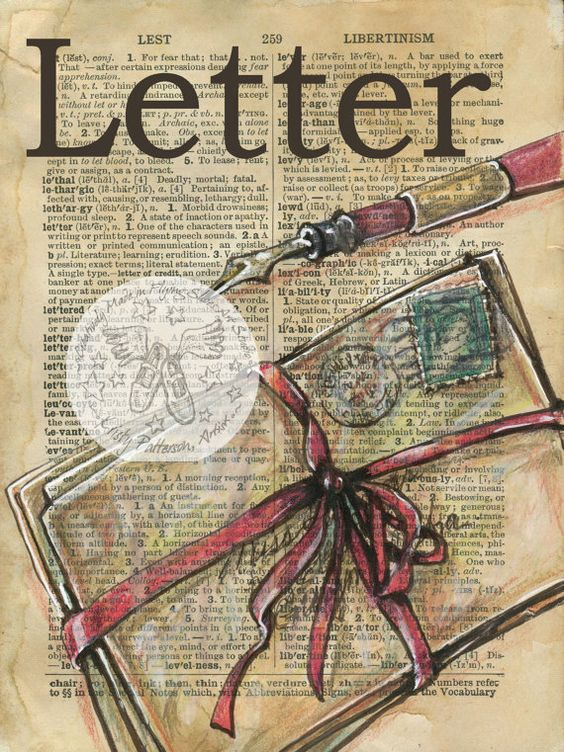 PRINT: Letters Mixed Media Drawing on 1920's por flyingshoes
