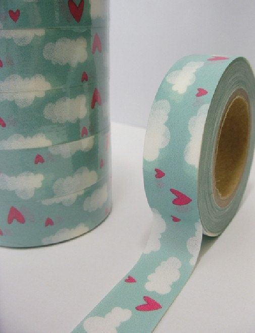 Japanese Washi Masking Tape  Heart in the Sky  15m by zakkalover, $4.50