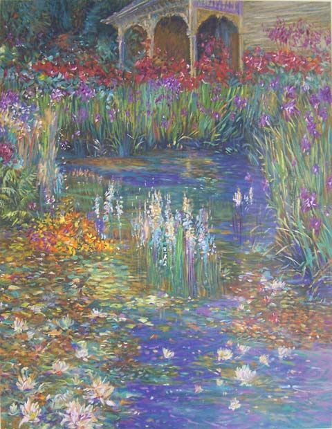 """American Impressionist, Henri Plisson.  I love his paintings.  This piece is called, """"Lily Pond."""""""