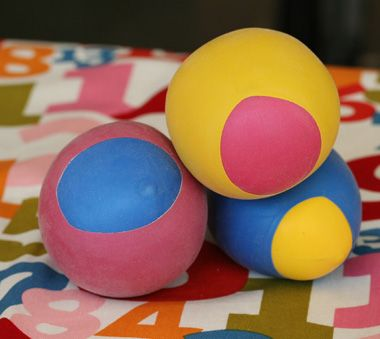 To make these balloon balls, you will need:  2 Balloons per ball  Scissors  Funnel  Pencil or chopstick  FlourTa da! Made with flour these are lots of squishy fun and make good hacky sacks. You can also fill them rice or lentils, etc. for different textures.: