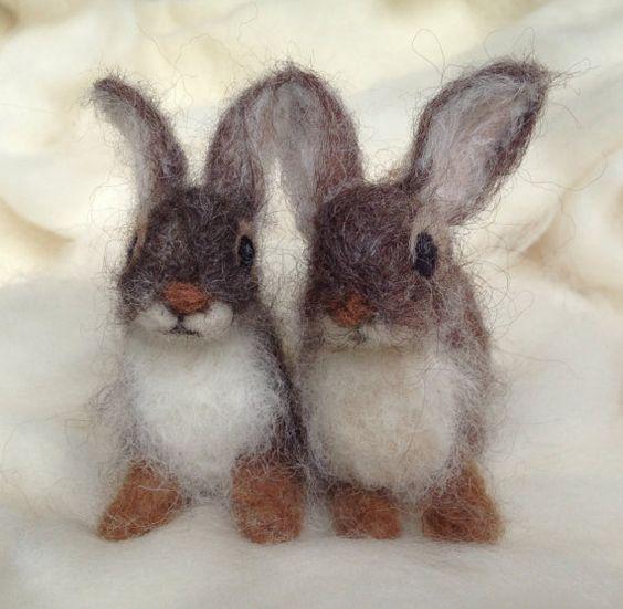 Nadel Gefilzte Kaninchen Cottontail Baby junge von ClaudiaMarieFelt