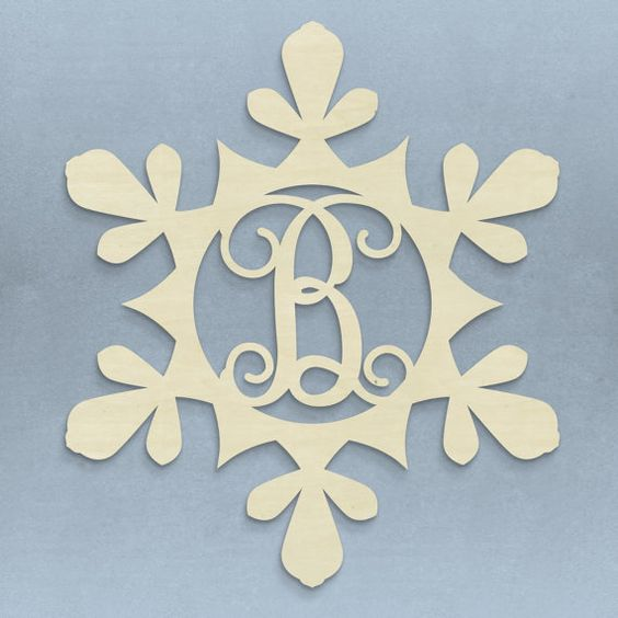 Unfinished+Monogram+Wooden+Snowflake+Door+by+TheRedWagonDesigns