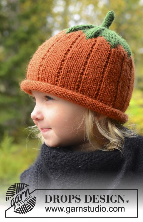 Sweet pumpkin #knit hat for kids in DROPS Karisma #halloween DROPS Hallowee...