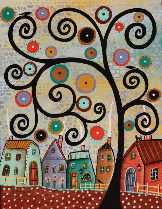 Lacey Sky ORIGINAL 11x14 inches CANVAS PAINTING Folk Art TREE HOUSES Cat Karla G #FolkArtAbstractPrimitive