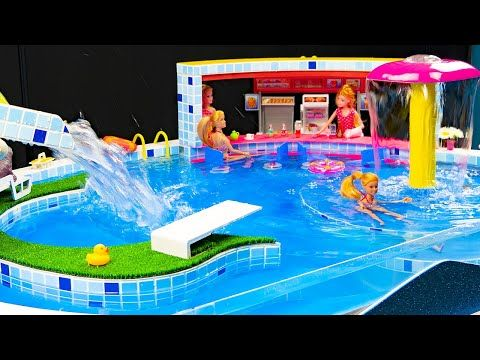 Miniature Swimming Pool Diy Water Fun Barbie Elsa And Anna Dolls Pool Party Youtube Barbie Dolls Diy Barbie Water Fun