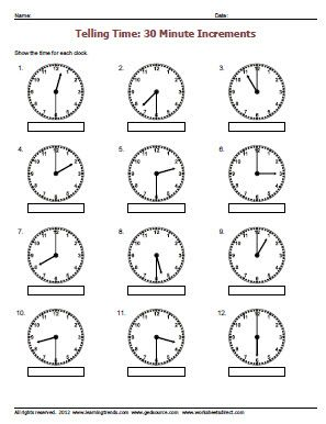Grade 2 Telling Time Worksheets - free