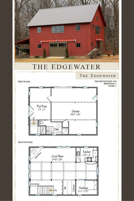 Small barn house the edgewater is 1050 sq ft 1 2 for Barn guest house plans