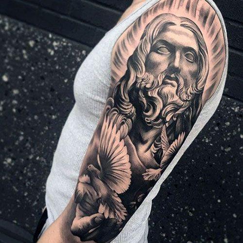 125 Best Half Sleeve Tattoos For Men Cool Designs Ideas 2019 Guide In 2020 Half Sleeve Tattoos Designs Half Sleeve Tattoo Jesus Tattoo Sleeve