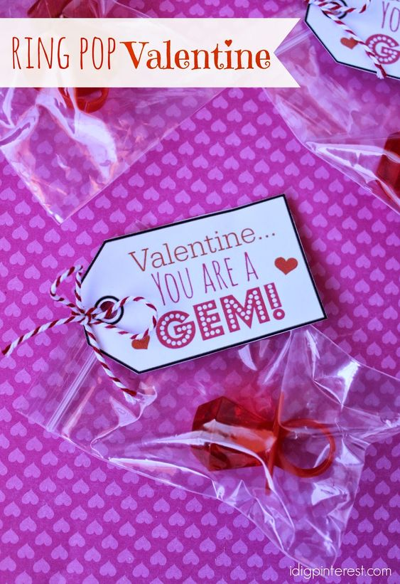 "I Dig Pinterest: ""You are a Gem"" Ring Pop Valentine:"